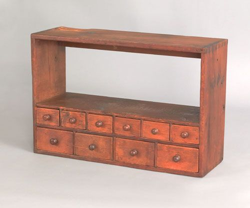 Pine Hanging Spice Cabinet, Early 19th C., With An Open Shelf Top Above