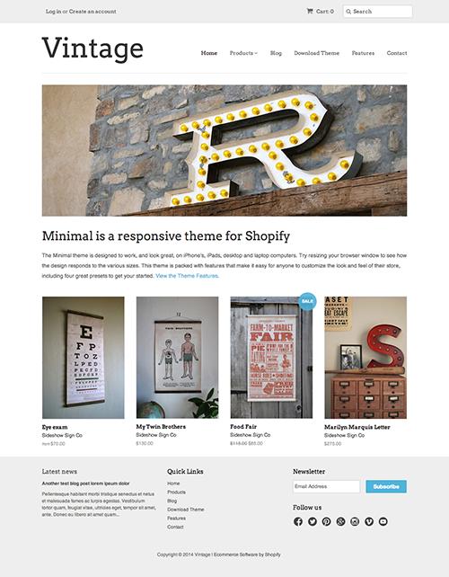 Vintage Ecommerce Website Template Minimal Online Store Theme Shopify Theme Ecommerce Website Template Theme