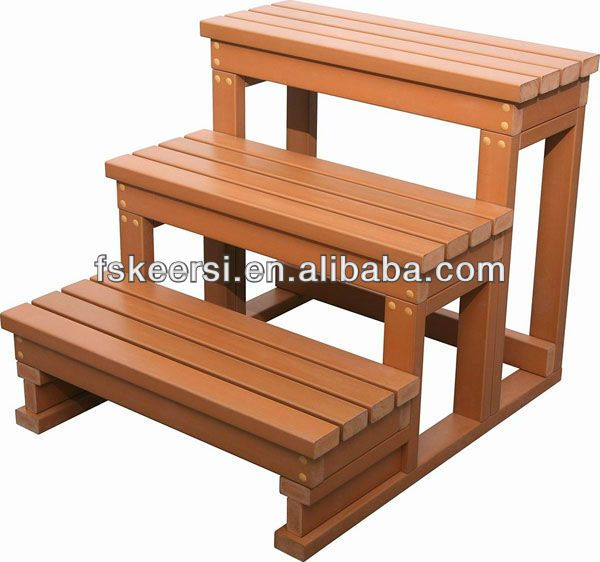 William S Woodworks Wood Stairs: Plastic Hard Wood Hot Tub Step