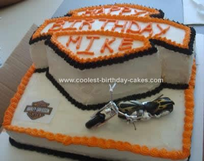Cool Homemade 2 Tiered Harley Birthday Cake Birthday cakes