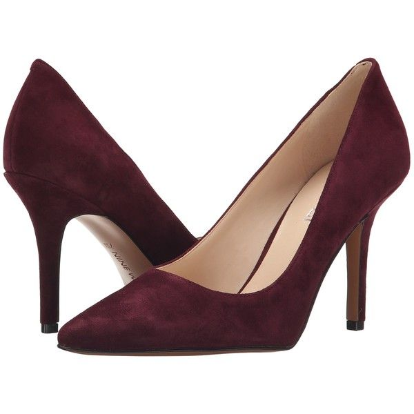 Nine West Jackpot (Dark Red Suede) High Heels ($40) ❤ liked on
