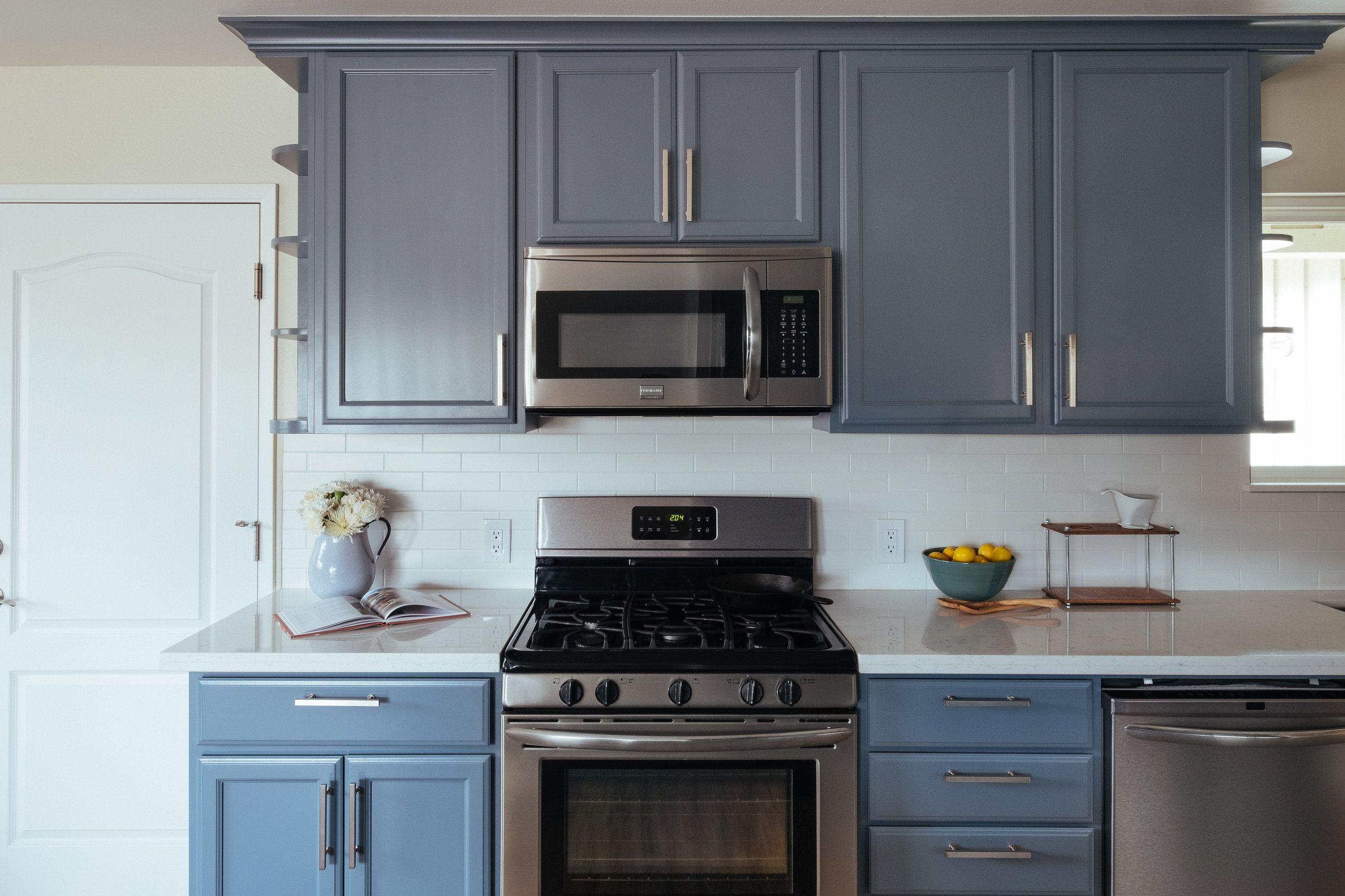 Santa Cruz Residence Kitchen Remodel Stripe Design Services Santa Cruz Ca Blue Cabinets White Subway Tile Shaker Kitchen Home Kitchens