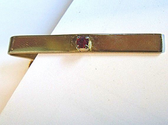 5c0f3a0f1d9a SOLD : Ruby Tie Clip - Mid Century Gold Tone Tie Bar with Ruby Rhinestone -  Vintage Mens Suit and Tie Accessory