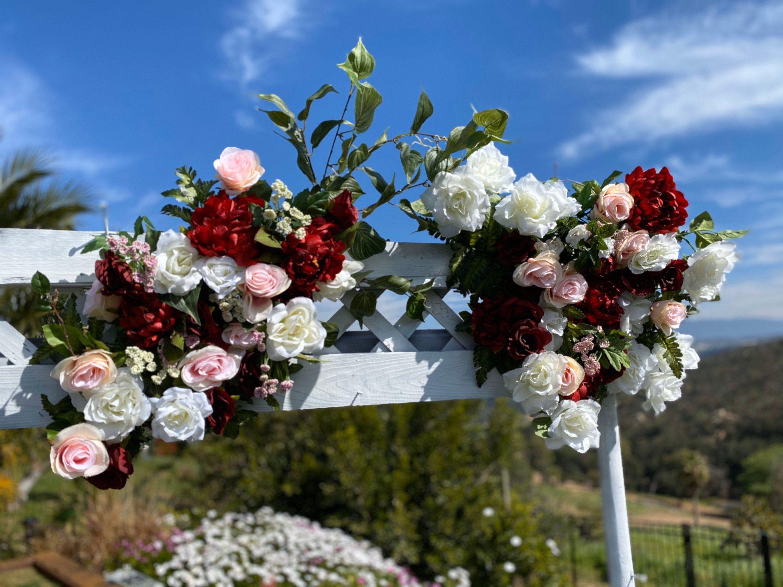 Burgundy Blush Wedding Arch Flower Package, Wedding Arch