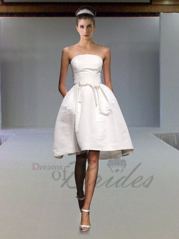 1c2a7a8d1c39 White Strapless Knee Length Baby Doll Silhouette Bridesmaid Wear £179.00