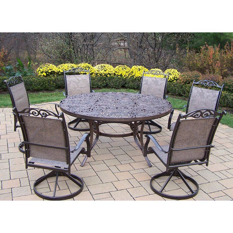 Oakland Living Mississippi Cascade 60 In. Swivel Sling Patio Dining Set    Seats 6 |