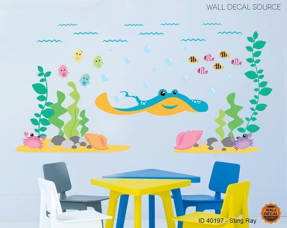Ocean Wall Sticker - Sting Ray Vinyl Stickers from Kids Wall Decal Source