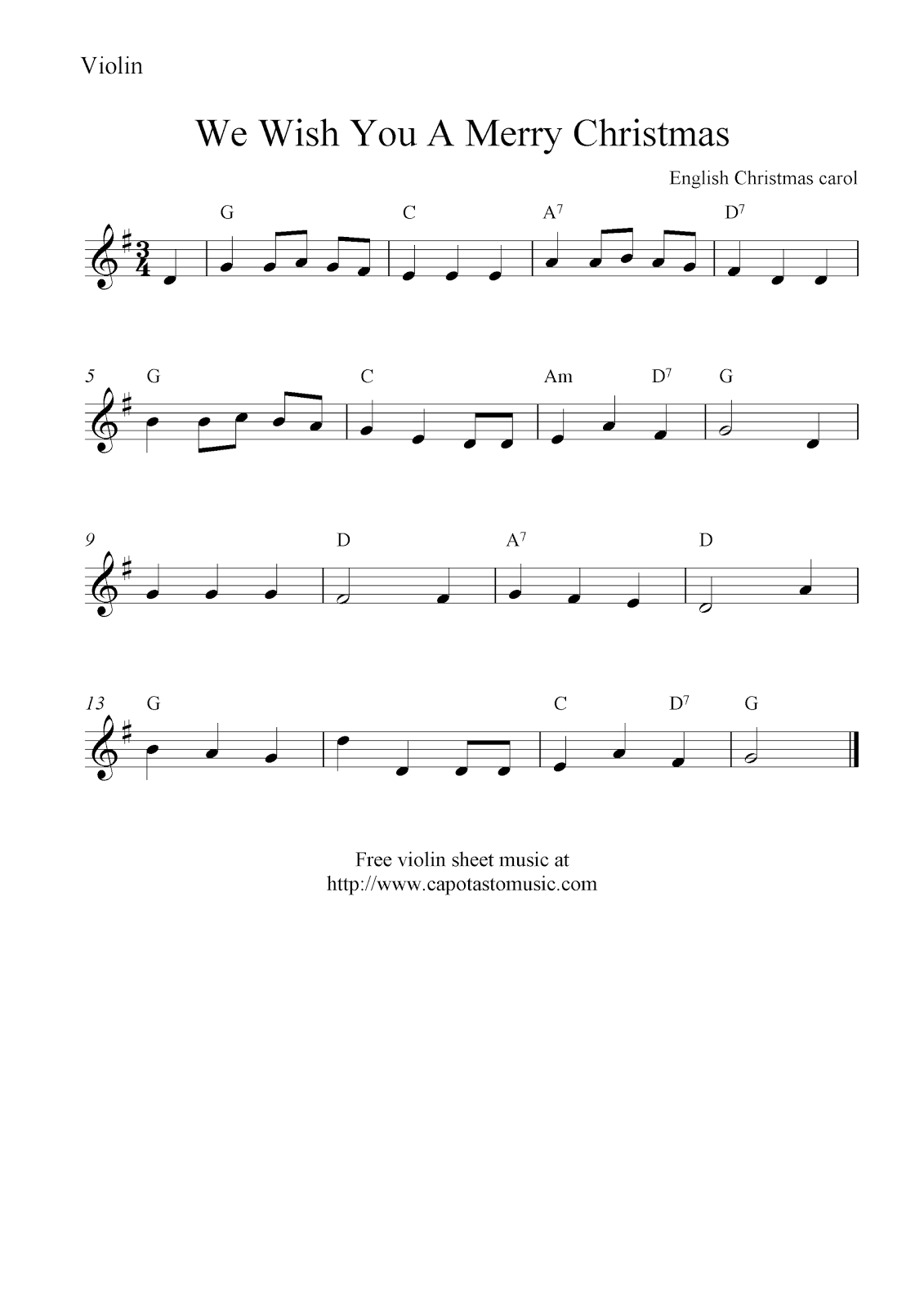 Sheet Music Violin We Wish You A Merry Christmas Free Christmas
