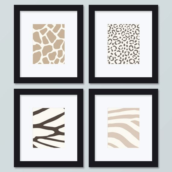Set of Four 5x7 Modern Animal Prints mocha by NikoAndLily on Etsy, $39.95