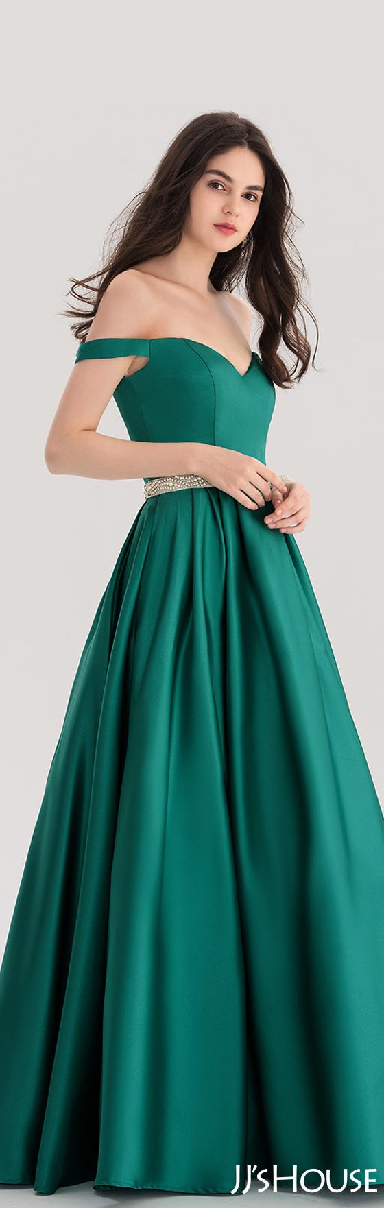 Ballgown offtheshoulder floorlength satin prom dress with