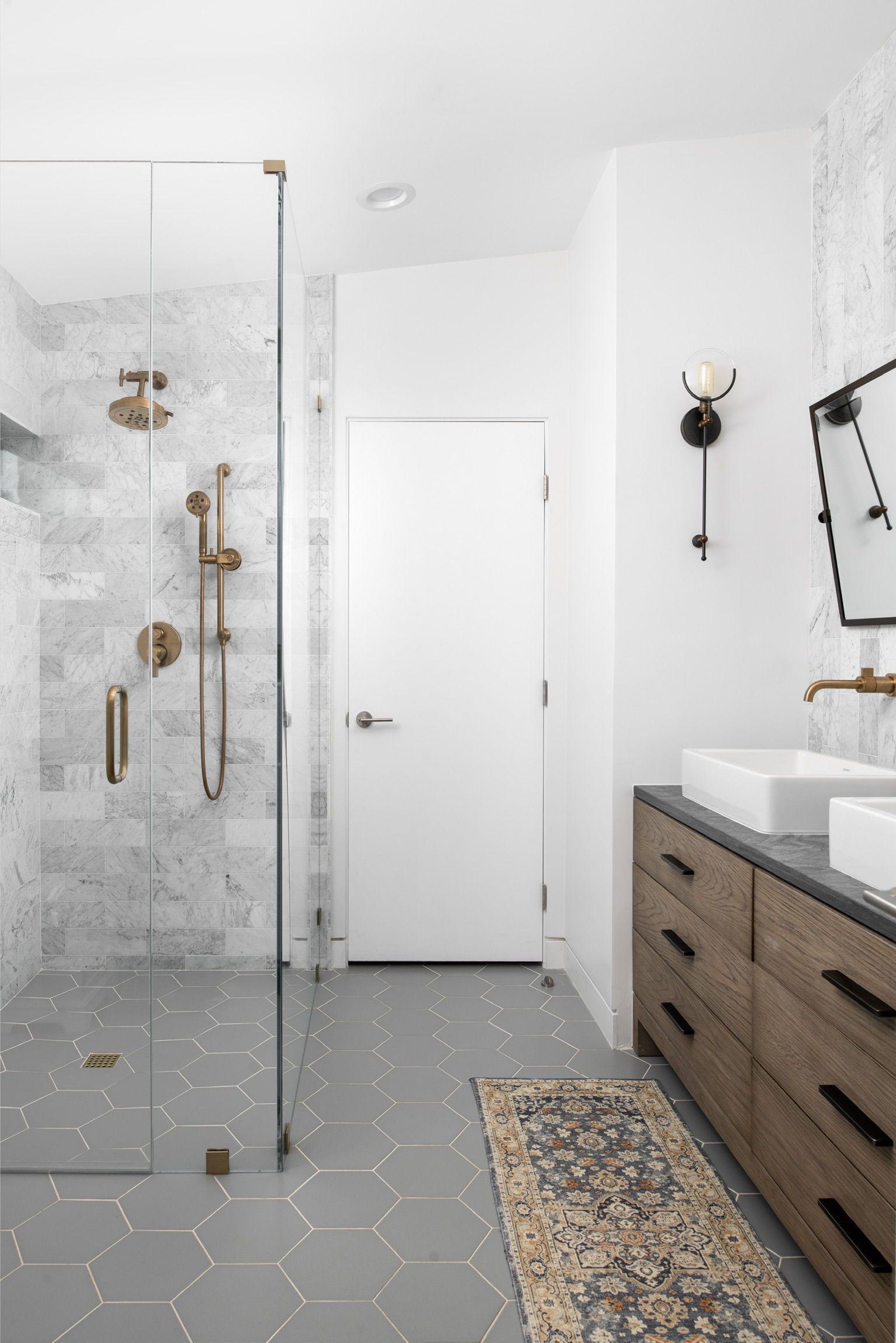 Go Grey Bathroom Inspo White Hexagon Tile Bathroom White Bathroom Tiles Bathroom Design