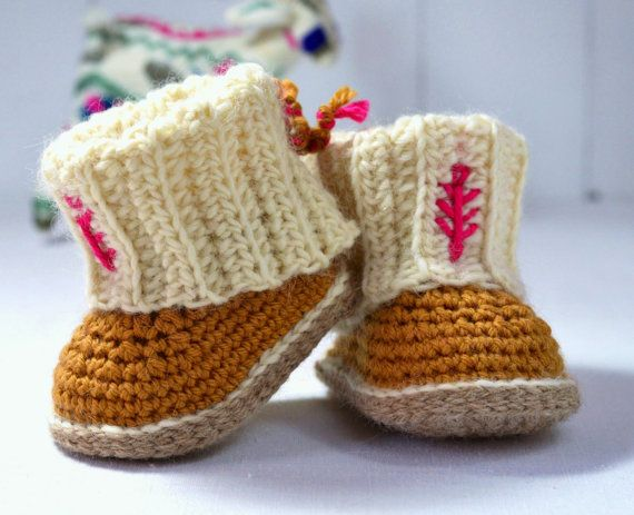 Crochet Pattern Booties Baby Uggs With Rib Cuffs 4 Sizes Baby