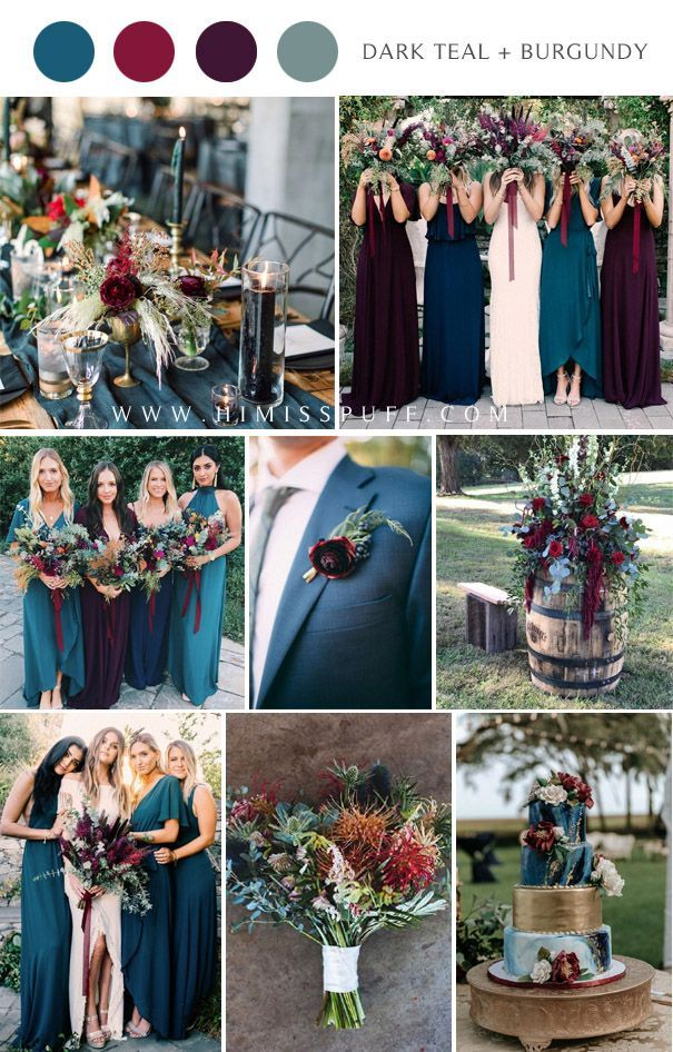 22 Dark Teal and Burgundy Wedding Ideas for Fall in 2020