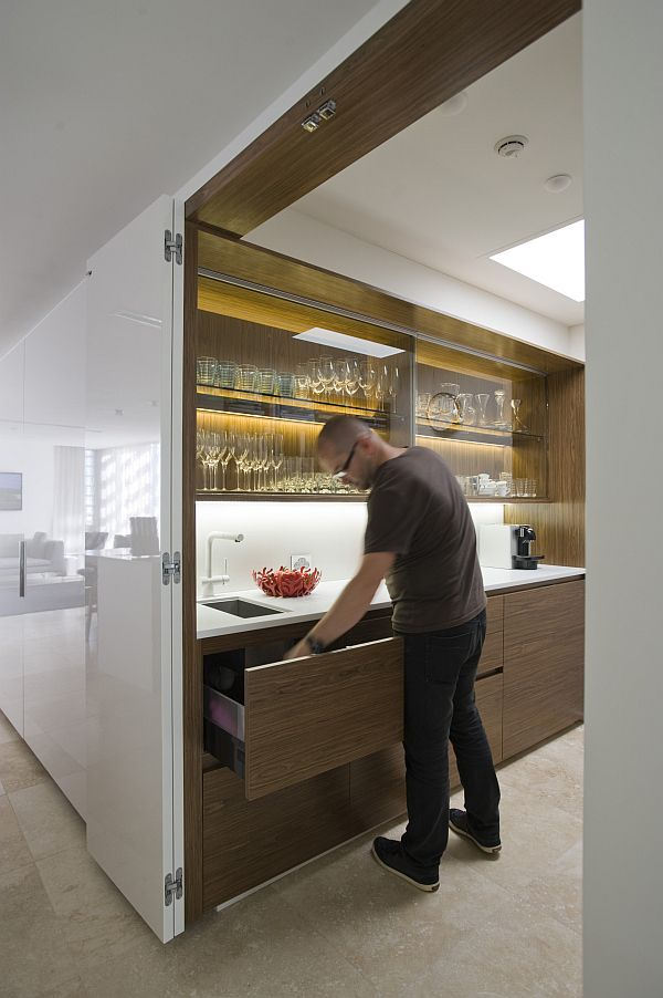Delightful Small Space Solutions: Hidden Kitchen From Minosa Design