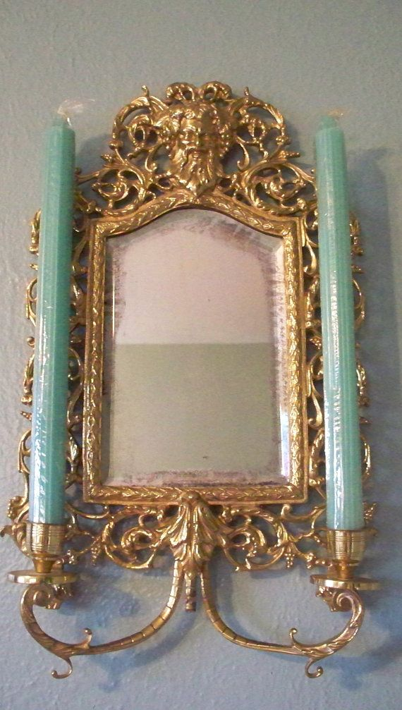 Antique Victorian French Chinoiserie Brass Wall Sconce Mirror With Candelabra Candle Holder ...