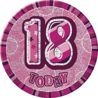 Pink Glitz 18th Giant 6 Birthday Badge 18th Birthday Party