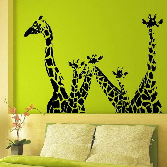 Vinyl Wall Decals Giraffe Animals Jungle Safari African Animal Decal ...
