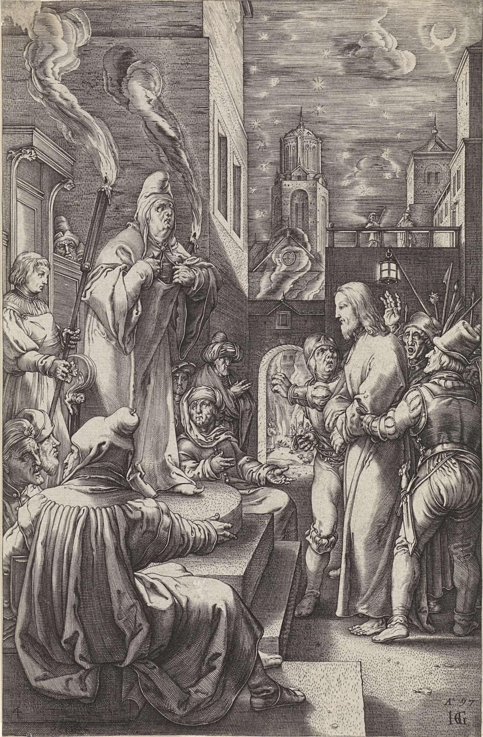 Anonymous | Christus voor Kajafas, Anonymous, 1597 | Christus wordt voorgeleid aan de hogepriester Kajafas. Kajafas staat op een verhoging tussen twee fakkels en scheurt zijn kleed. Door de poort is het vuur op de binnenplaats zichtbaar waar Petrus zit.