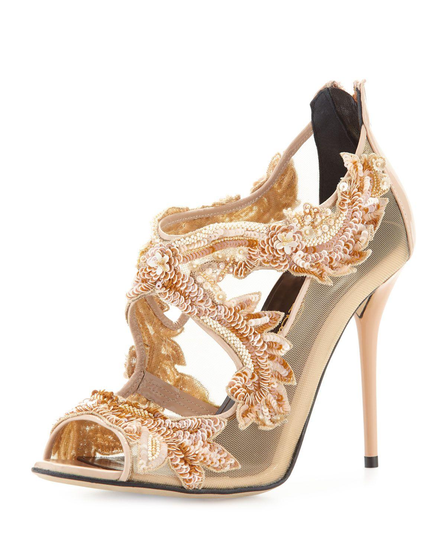 Ambria Beaded Lace Sandal, Bisque, Women's, Size: 10B/40EU - Oscar de la Renta