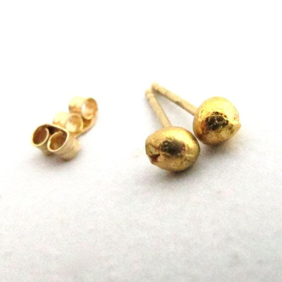 2167d81df Solid 24k Gold Studs - 24 Karat Gold Nugget Post Earrings | Fall Wedding  Inspirations | Gold studs, Earrings, Gold