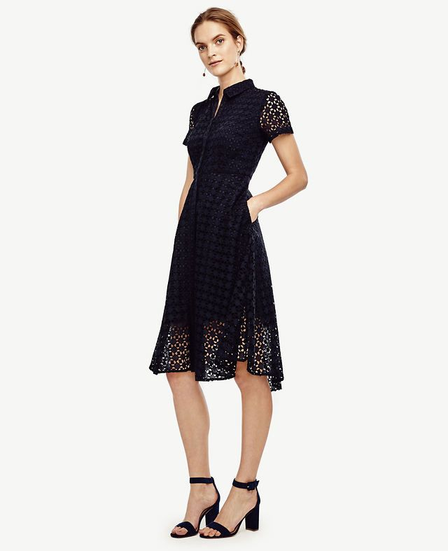 """In airy cotton eyelet, we've flared our favorite shirtdress for irresistibly feminine summer style. Point collar. Short sleeves. Hidden button front. Vertical on-seam pockets. Back yoke. Lined bodice and skirt. 23 1/2"""" from natural waist."""