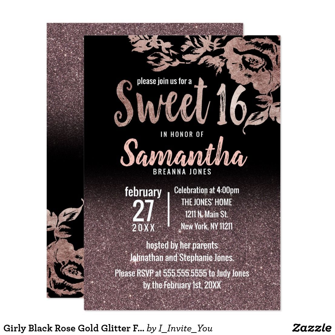 Girly Black Rose Gold Glitter Floral Sweet 16 Invitation Zazzle