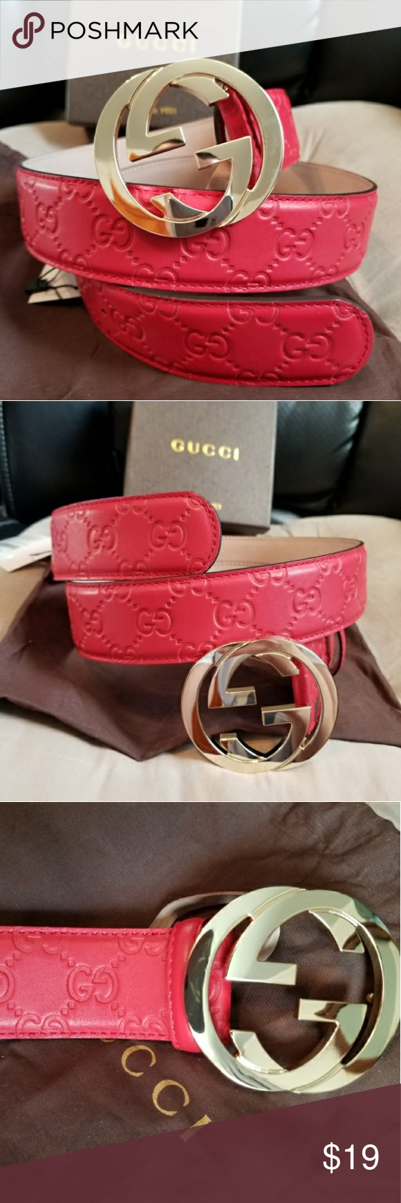 7f56e466517 😉Authentic Gucci Web Belt Red Guccissima Supreme 😉Authentic Gucci Web Belt  Red Guccissima Print with Gold GG Buckle. Comes with tag