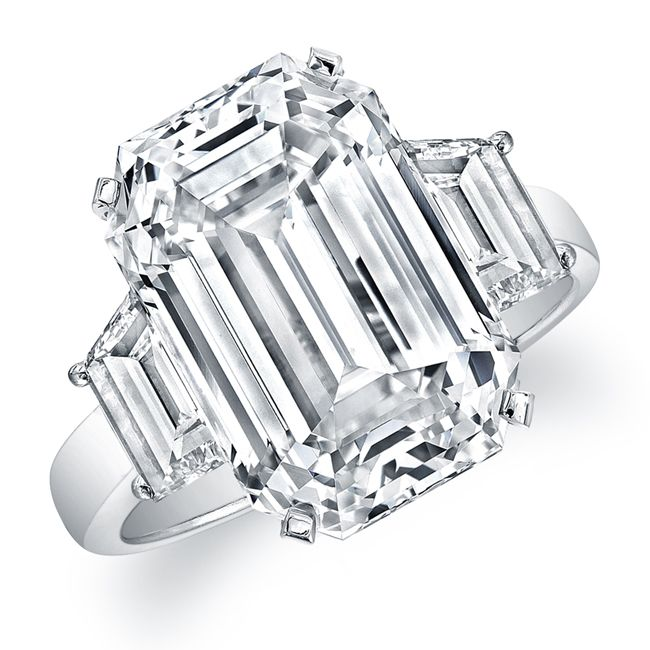 Emerald Cut Ring set it 18K White Gold with Trapezoid Cut Diamonds on the side #RahaminovDiamonds
