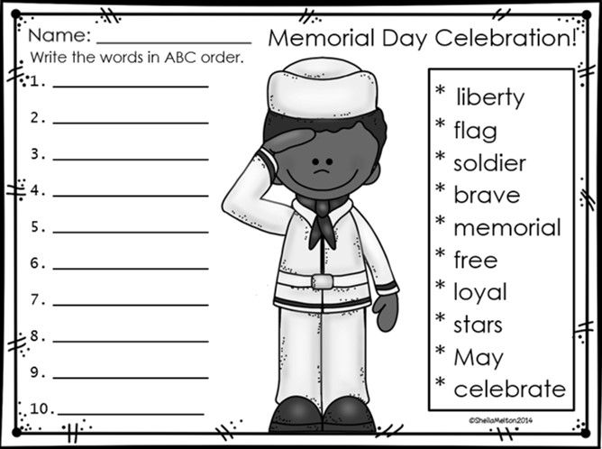 Unusual image with regard to memorial day printable activities