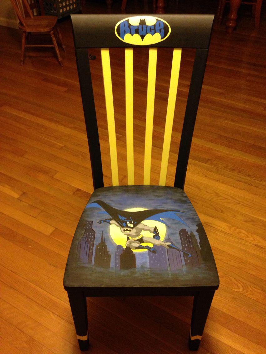 Adult Custom Ordered Hand Painted Wooden Chair Batman The Dark