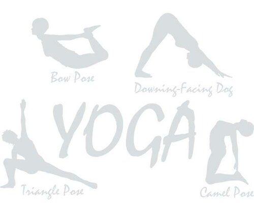 Yoga Pose Wall Sticker Happy Larry Size: 136 cm H x 100 cm W, Colour: Light grey