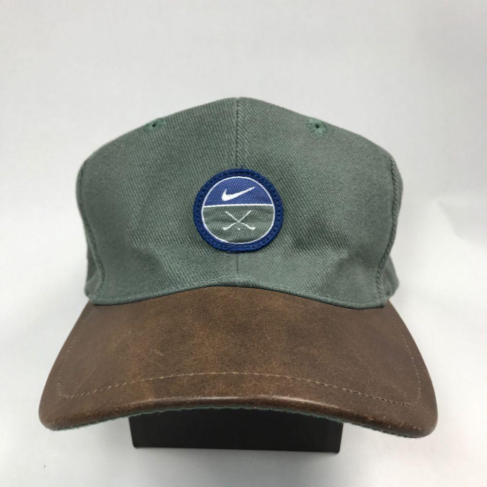 Vintage Strapback Nike Green Golf Brown Leather Bill W Blue Swoosh Hat Cap Nike Baseballcap Nike Green Brown Leather Hats