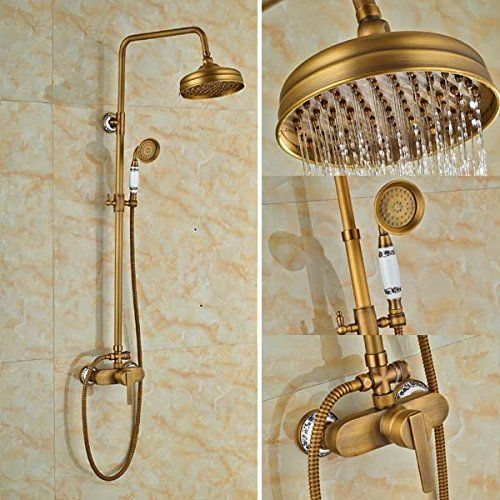 "8/"" Bathroom Rain Shower Faucet  Valve Mixer Hand Sprayer Wall Mount Tap Set"