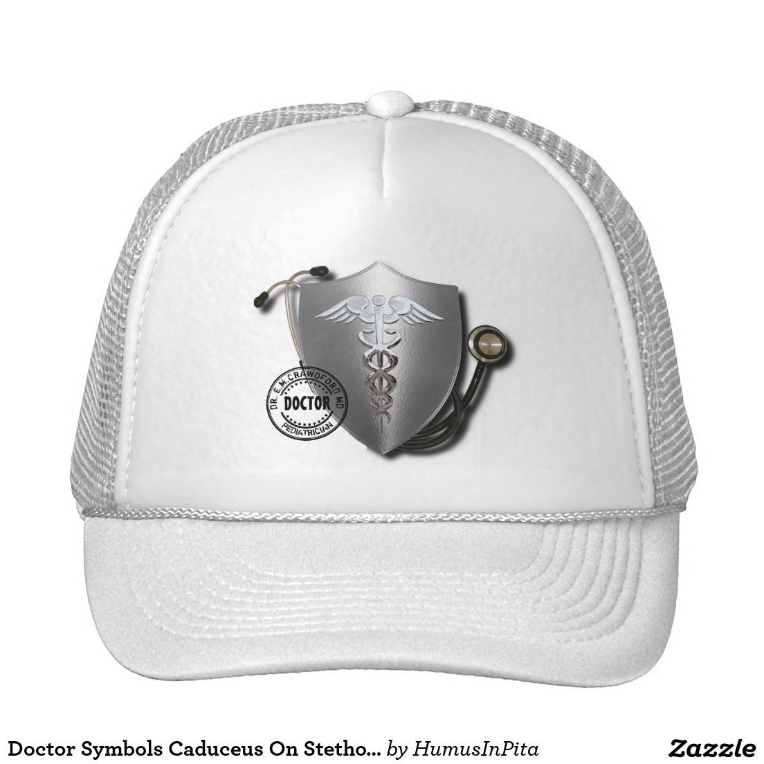 Doctor Symbols Caduceus On Stethoscope And Stamp Trucker Hat
