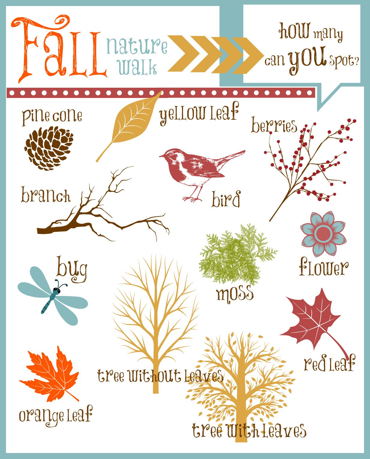 Nature Walk Printable Fun Fall Activity For Kids With