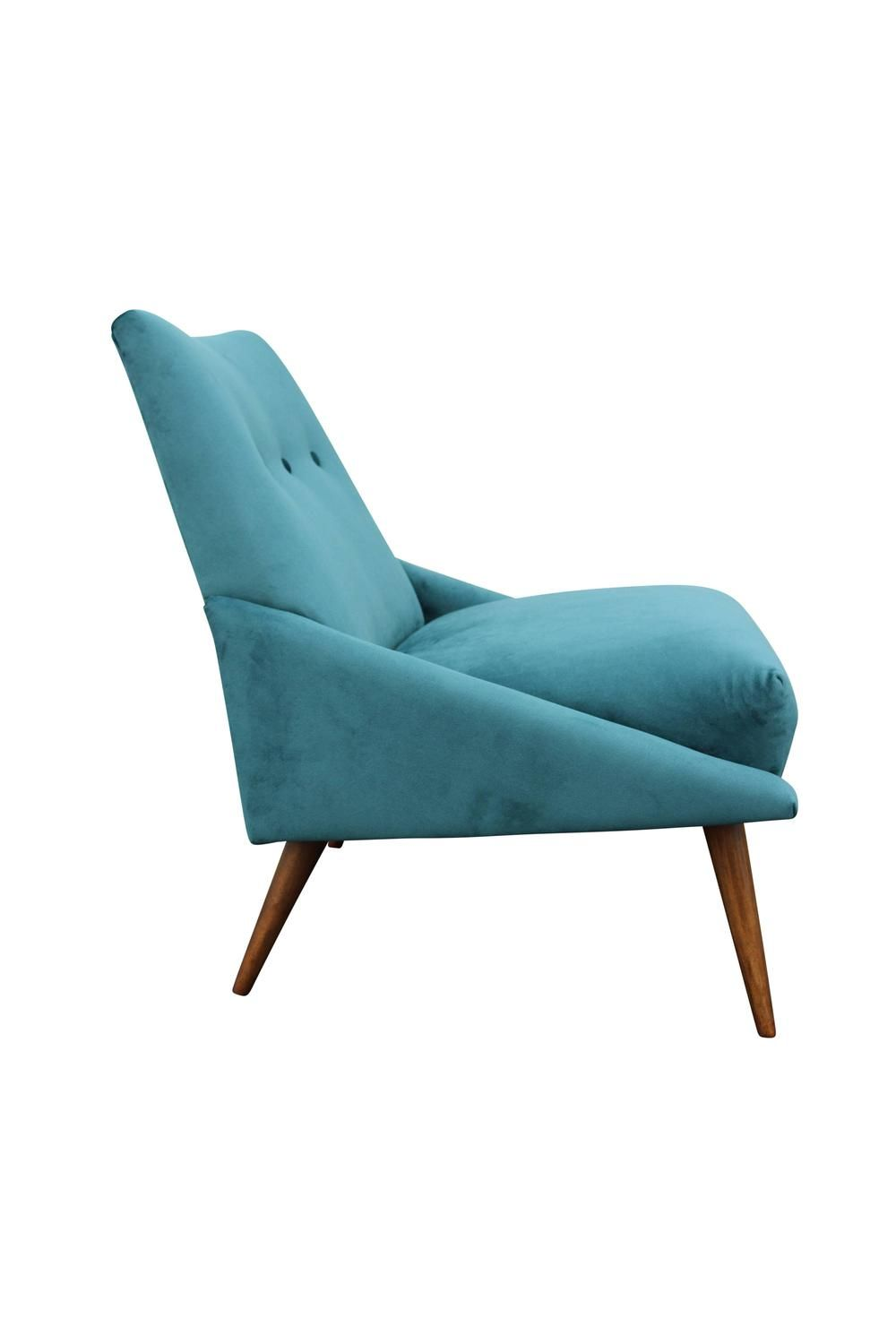 Peacock Velvet Mid Century Modern Chair   From A Unique Collection Of  Antique And Modern