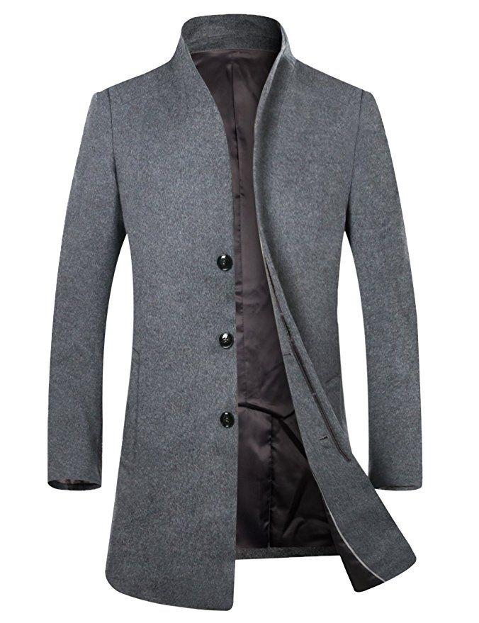 5861048c5 APTRO Men's Wool French Front Slim Fit Long Business Coat 1681 Grey ...