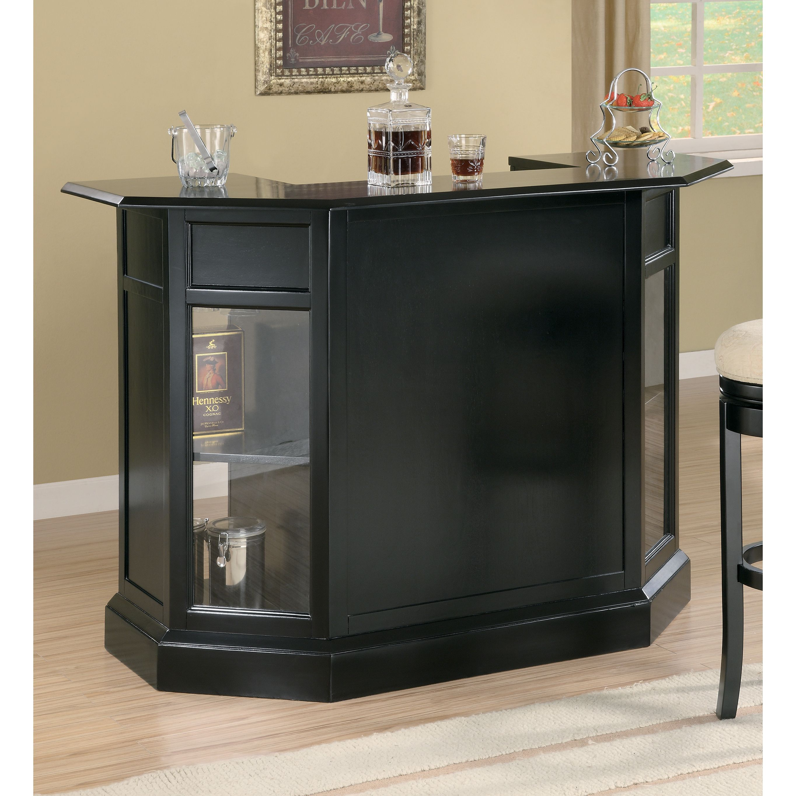 Black Home Bar Furniture: Coaster Company Black Bar Unit