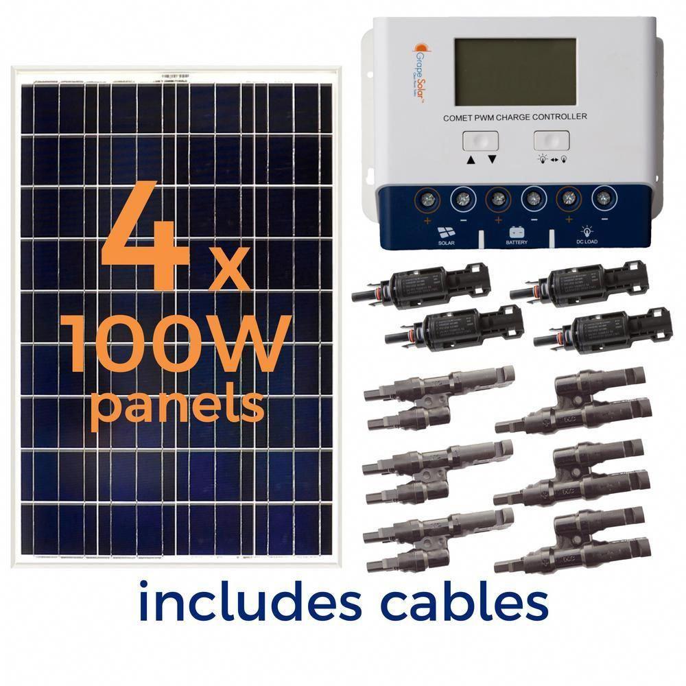 Grape Solar 400 Watt Off Grid Solar Panel Kit Gs 400 Kit The Home Depot In 2020 Best Solar Panels Solar Power Panels Solar Panels