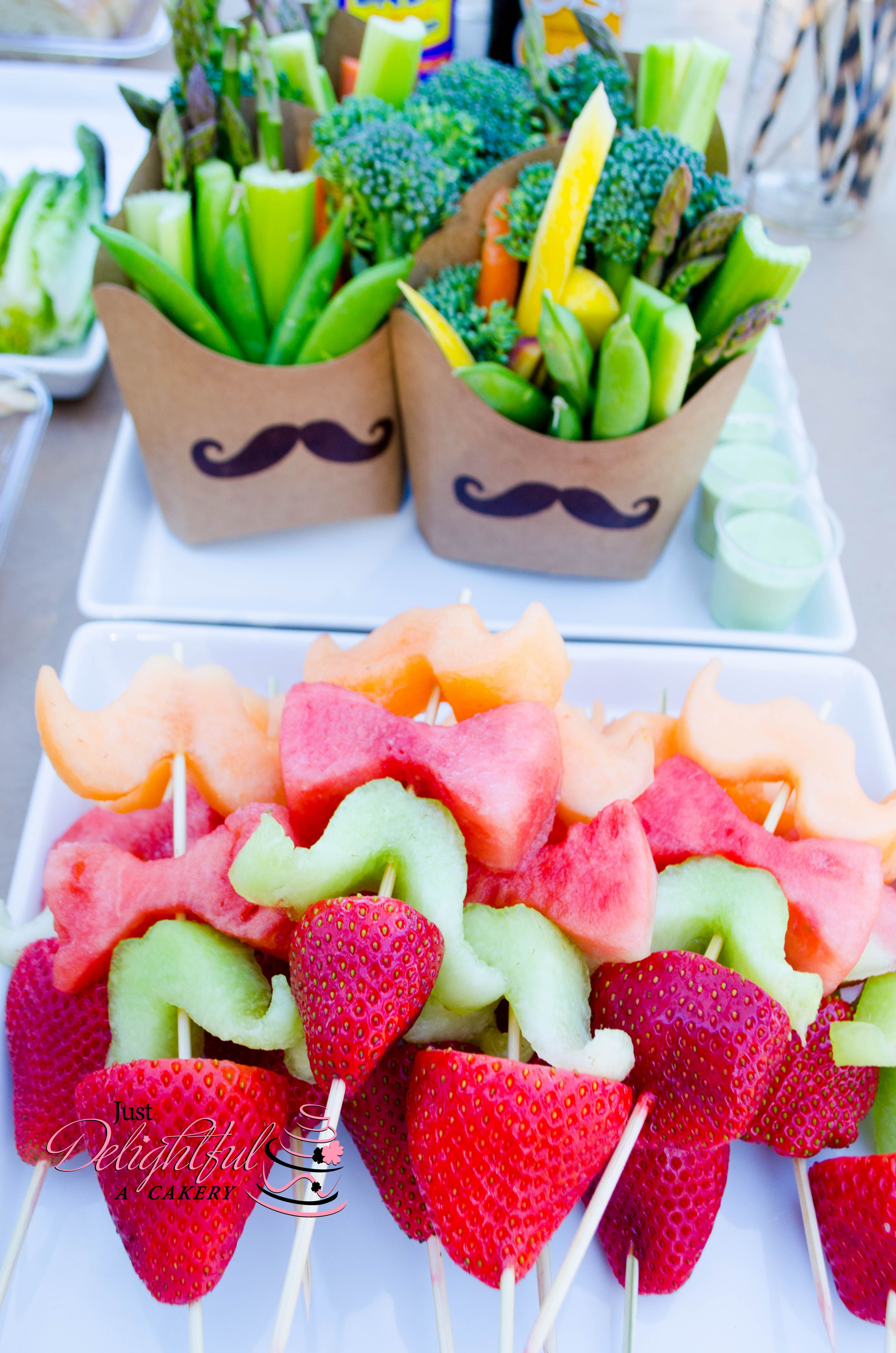 mustache and bow tie fruit kabobs and veggies mustache party