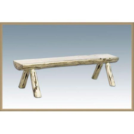 Montana Half Log Bench With Back U0026 Arms, Clear Lacquer #logfurniture