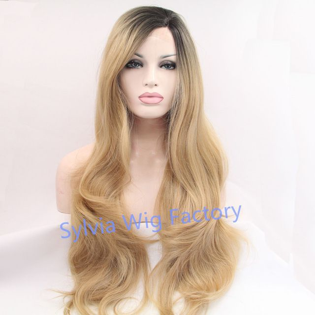 wholesale Premium blonde ombre wig dark root long natural body  wave wigs Brazilian Hair synthetic lace front wig heat resistant