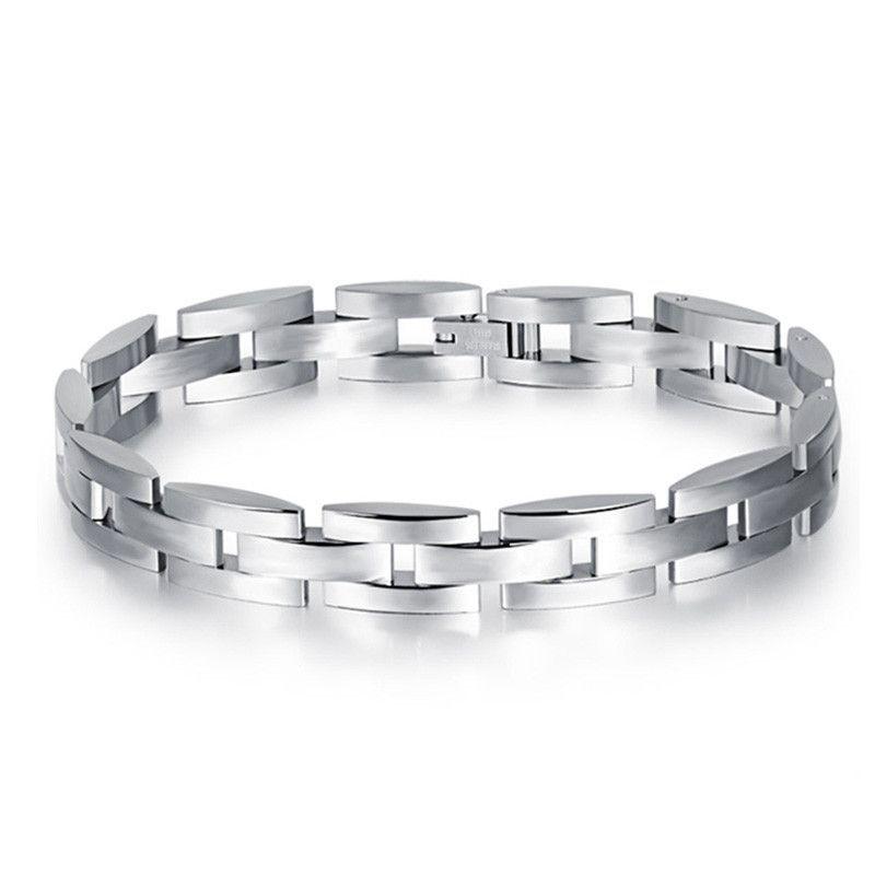 316L Stainless steel Solid Interlock Bones Chain Bracelet in Men/'s Heavy Jewlery