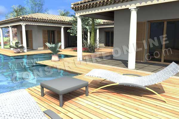 plan de maison en U mediterraneenne ESTRAN piscine transat Belle