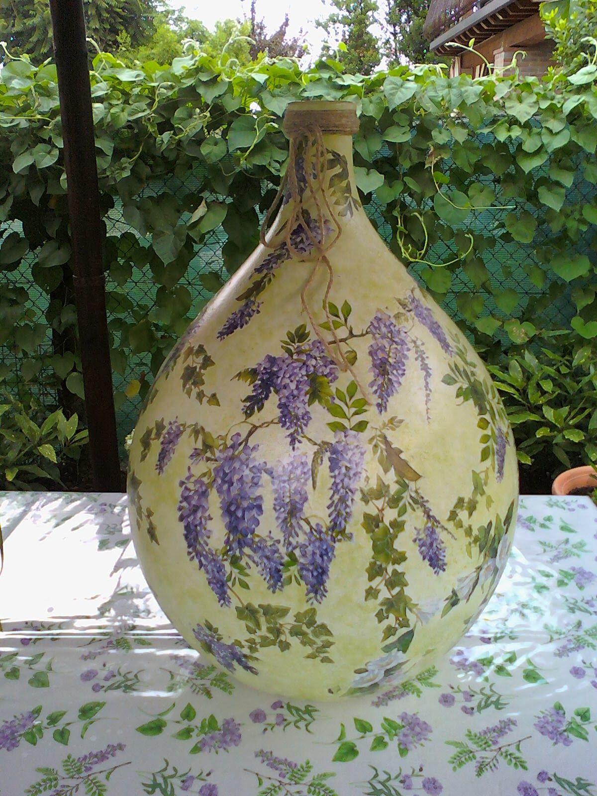 Creazioni con amore damigiana con glicine e campanelle - Damigiane decorate ...