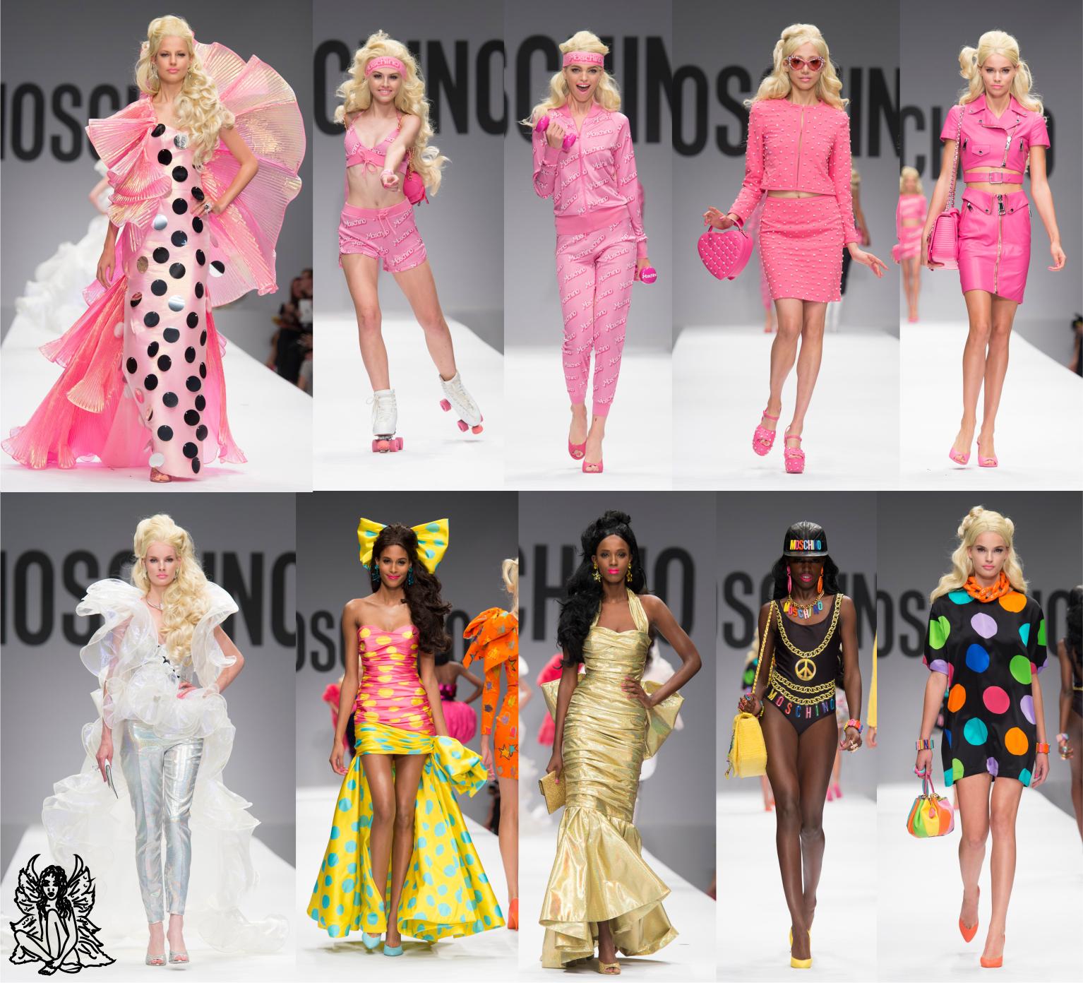 Nas semanas de moda, a Moschino sempre inova e apresenta coleções diferentes como a do inverno/2015, inspirada em redes de fast food. Para o verão/2015, a escolhida da vez foi a tao querida boneca Barbie, que inspirou não só os looks, como cabelos e acessórios. Confira algumas das criações:  #Moschino #Barbie #Pink #Rosa #Fashion #AndressaCastro #ModaFeminina