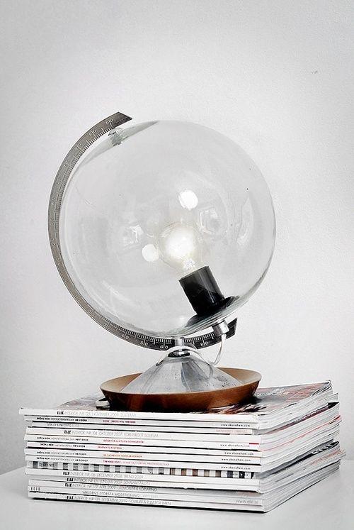 diy lamp from the broken globe