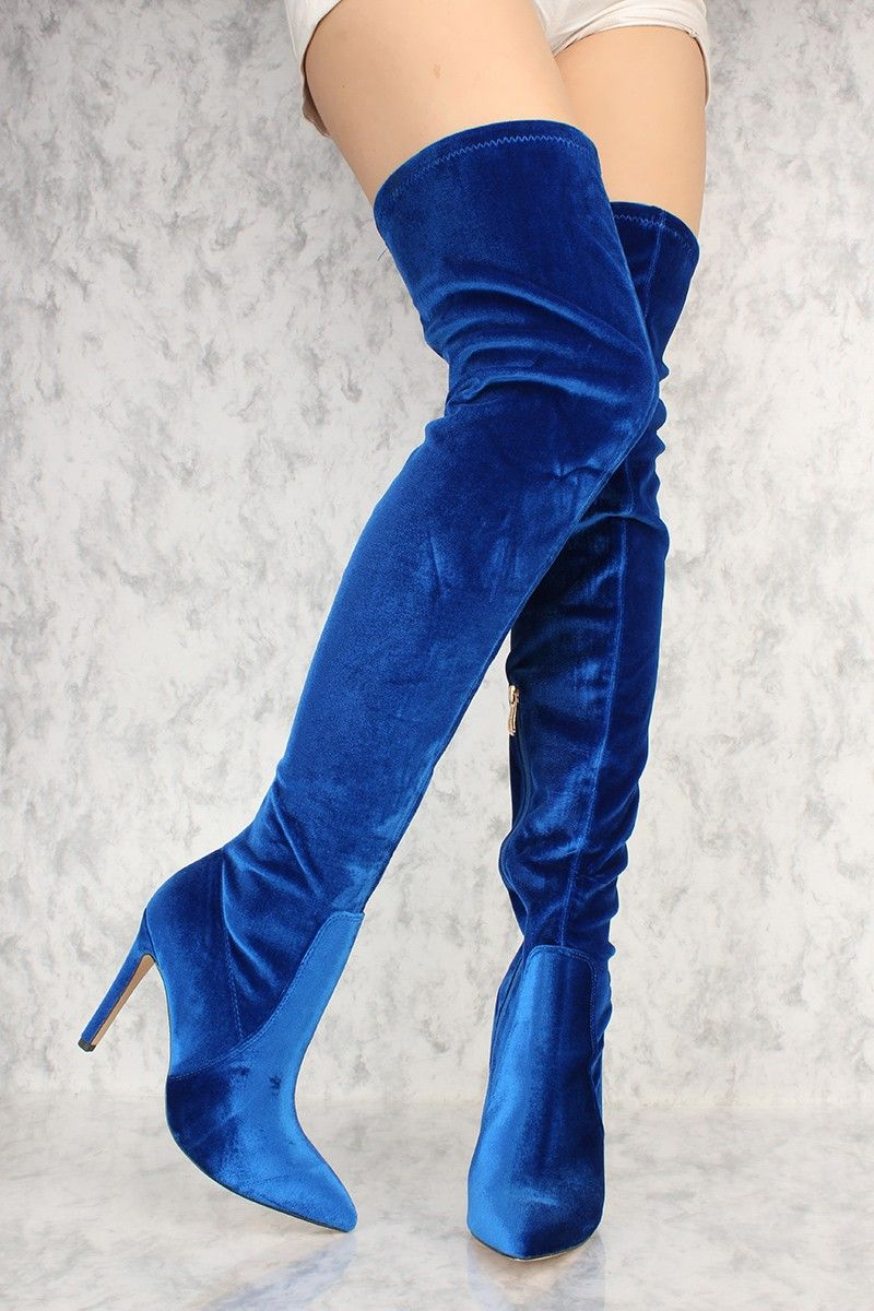 0d4fdfe769e Royal Blue Pointy Toe Thigh High Boots Faux Velvet in 2019