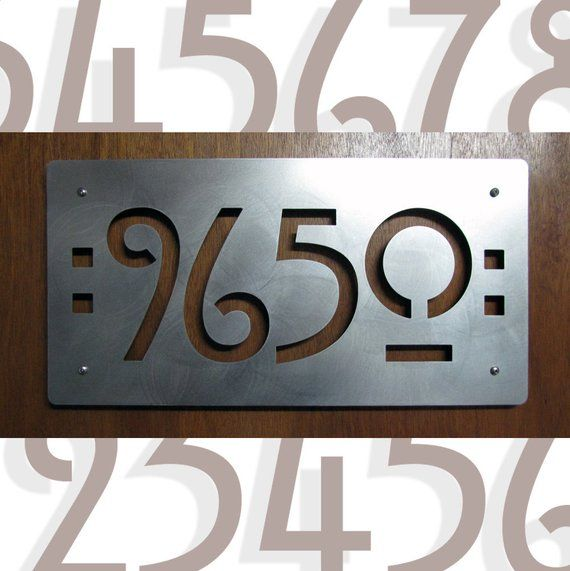 Craftsman Style House Numbers Custom Mission Style Address Plaque In Stainless Steel House Numbers Mission House Craftsman Style
