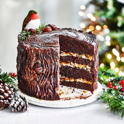 Chocolate, caramel and chestnut yule log cake